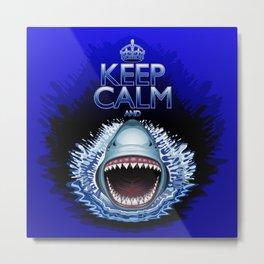 Keep Calm and...Shark Jaws Attack! Metal Print