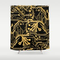 techno Shower Curtains featuring Techno Organic  by Leigh Wortley
