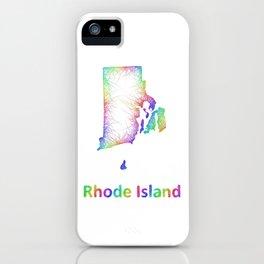 Rainbow Rhode Island map iPhone Case