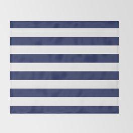 Navy Blue and White Stripes Throw Blanket