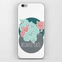 because cats iPhone & iPod Skins featuring Because cats. by Shawn Carney Art