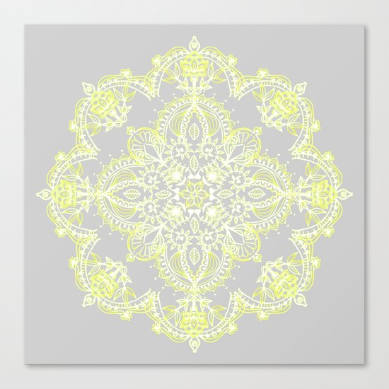 Pale Lemon Yellow Lace Mandala on Grey Canvas Print