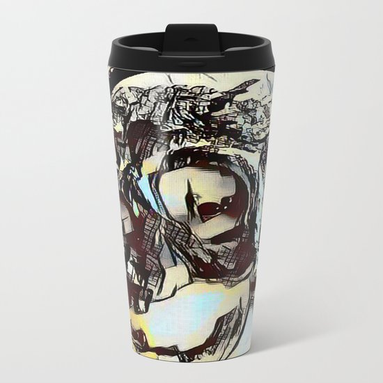 Metal Paper Skull Metal Travel Mug
