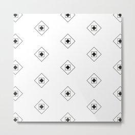 Black & White Rhombus & Squares Pattern Metal Print