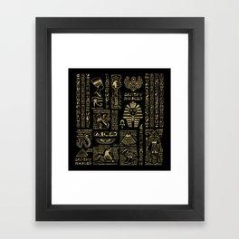 Egyptian hieroglyphs and deities gold on black Framed Art Print