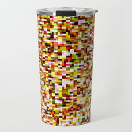 Red yellow pixel noise static pattern Travel Mug