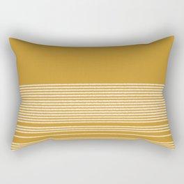 Organic Stripes in White and Dark Mustard  Rectangular Pillow