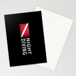 Night Diving, Diver Down Flag, Scuba flag Stationery Cards