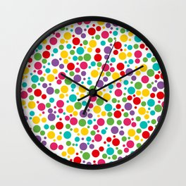 Colorful Abstract Rainbow Polkadot Wall Clock