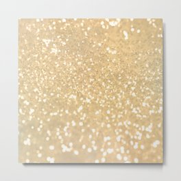 Abstract white gold glamorous girly glitter pattern Metal Print
