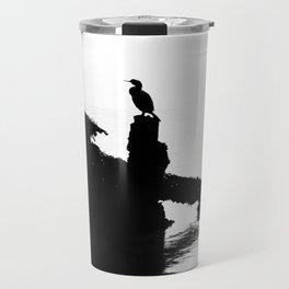 Perched Cormorant. Travel Mug