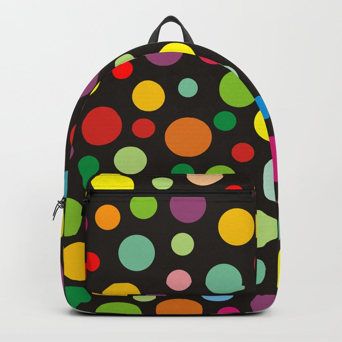Colorful polka dots on black Backpack