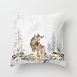 Christmas wolf in snowy woods Throw Pillow