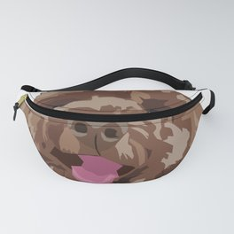 Brown Poodle Happy Dog Face Fanny Pack
