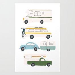 Vintage RV Motorhome Trailers Campers Art Print