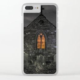 Haunting church at night Clear iPhone Case