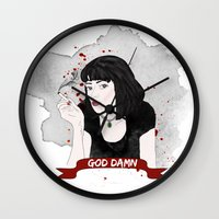 mia wallace Wall Clocks featuring Pulp Fiction's Mia Wallace by raeuberstochter