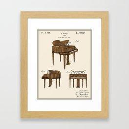 Piano Patent - Colour Framed Art Print