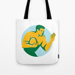 Rugby Player Fend Off Circle Retro Tote Bag
