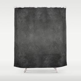 Black Faux Concrete Stone Texture Industrial Art Shower Curtain
