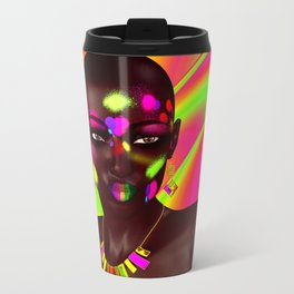 African Woman and Colorful Abstract Travel Mug