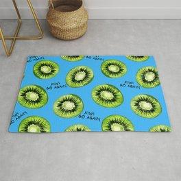 Kiwi Go Again Funny Kiwi Fruit Pun Pattern (light blue) Rug