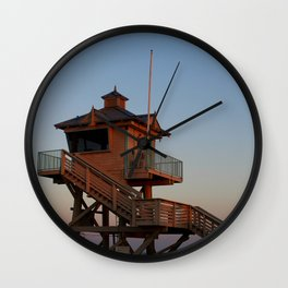 Guard Tower At Dusk Wall Clock