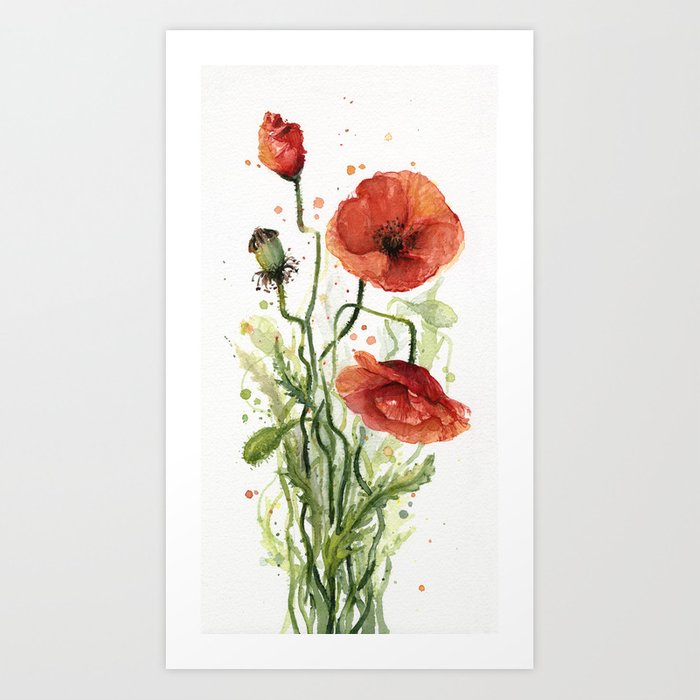 Red poppies watercolor flower floral art art print by olechka society6 red poppies watercolor flower floral art art print mightylinksfo