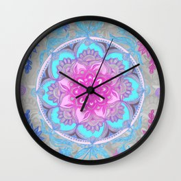 Pink, Purple and Turquoise Super Boho Doodle Medallions Wall Clock