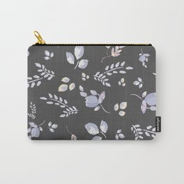 Spring watercolor leaves & tulips on dark grey background Carry-All Pouch