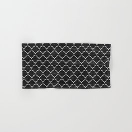 Black and white Moroccan tile pattern Hand & Bath Towel