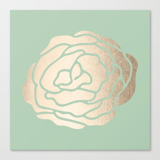 Rose White Gold Sands on Pastel Green Cactus Canvas Print