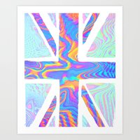 holographic Art Prints featuring Holographic Union Jack  by Berberism Lifestyle