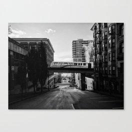 Morning Train BW Canvas Print