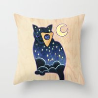 ouija Throw Pillows featuring Ouija Cat by Kiki Stardust