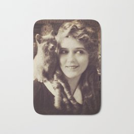 Mary Pickford - Vintage Lady with kitten Bath Mat
