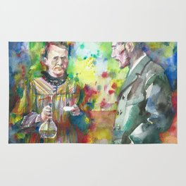 MARIE and PIERRE CURIE - watercolor portrait Rug