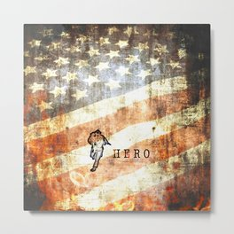 Firefighter Hero Grunge Metal Print