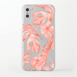 Tropical Hibiscus and Palm Leaves Dark Coral White Clear iPhone Case