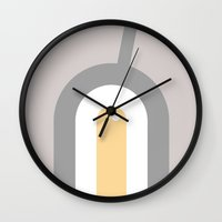 egg Wall Clocks featuring egg by ONEDAY+GRAPHIC