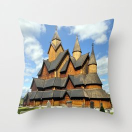 Norway Heddal Stave Church from wood Cities Wooden Throw Pillow