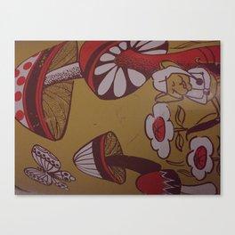 mushrooms and flowers Canvas Print