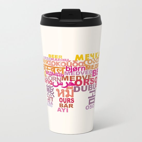 Bear in Different Languages Metal Travel Mug