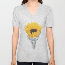 Sunflower 01 Botanical Flower Unisex V-Neck