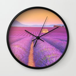 Dreamy Field of Lavender in Sunset Floral Landscape Photograph Wall Clock