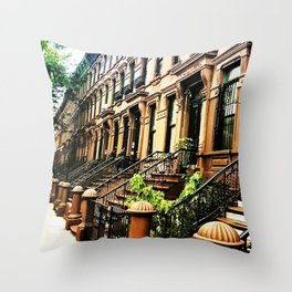 Harlem Brownstones on a summer's day Throw Pillow