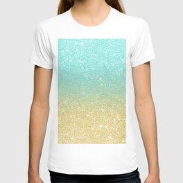Modern robbin egg blue glitter ombre gold glitter T-shirt