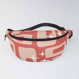 Retro Mid Century Modern Abstract Pattern 129 Red and Beige Fanny Pack