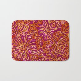 Marigold Lino Cut, Batik Red And Purple Bath Mat