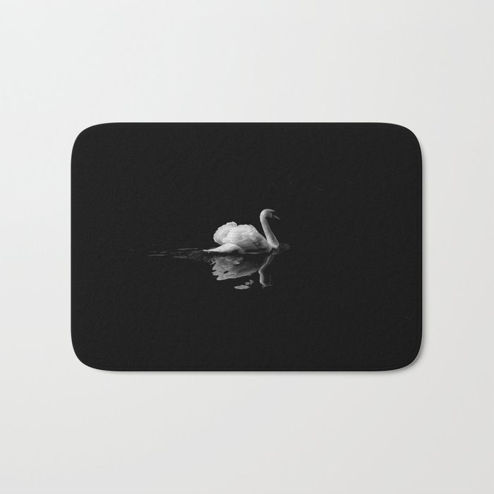 WHITE - SWAN - ON - BODY - OF - WATER Bath Mat by photoshop
